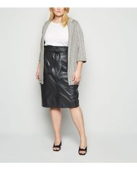 New Look Curves Black Leather-look Pencil Skirt