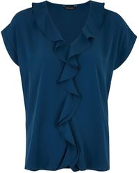 New Look Teal Ruffle Short Sleeve Blouse - Blue