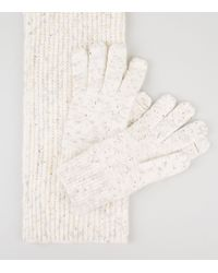 New Look Cream Scarf And Gloves Set - Natural