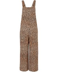 New Look Brown Leopard Print Dungaree Jumpsuit