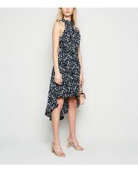 Mela - Blue Ditsy Floral Dip Hem Dress - Lyst