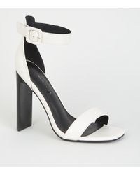 dcdfca2a133 New Look Wide Fit White Low Block Heel Sandals in White - Lyst