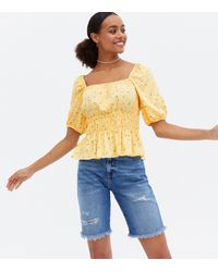 New Look - Yellow Floral Shirred Square Neck Peplum Top - Lyst