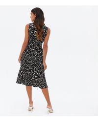 Mela Black Animal Print Midi Wrap Dress New Look