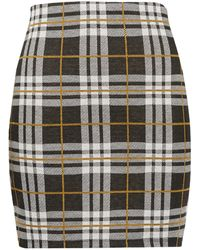 New Look Tall Black Check Jersey Tube Skirt