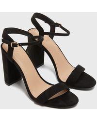 New Look Suedette 2 Part Block Heel Sandals Vegan - Black