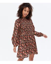 New Look Tall Black Ditsy Floral High Neck Mini Smock Dress