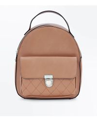 New Look - Tan Quilted Pocket Mini Backpack - Lyst
