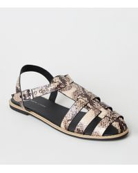 a090207e0 Boohoo Harriet Caged Gladiator Flat Sandal in Black - Lyst