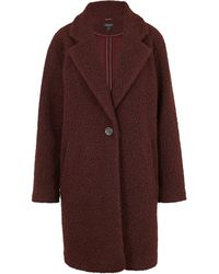 New Look Burgundy Teddy Bouclé Oversized Coat - Multicolour