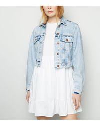 New Look Pale Blue Cropped Denim Jacket