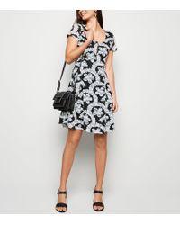 Apricot Black Lace Zip Front Dress