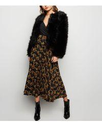 New Look Black Chain Print Pleated Midi Skirt