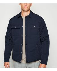 New Look Navy Quilted Shacket - Blue