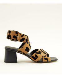 73664adcfd66 New Look - Tan Premium Suede Leopard Print Cross Strap Sandals - Lyst