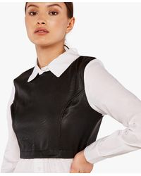 Apricot Black Leather-look 2 In 1 Shirt