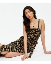 New Look Brown Zebra Print Square Neck Maxi Beach Dress