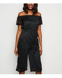 Mela Black Lace Bardot Jumpsuit