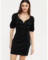 Urban Bliss - Black Lace Notch Neck Puff Sleeve Mini Dress - Lyst