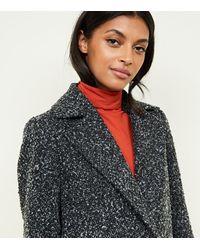 New Look Black Shawl Faux Fur Collar Coat