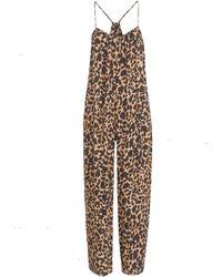 New Look Petite Brown Leopard Print Crop Romper Jumpsuit