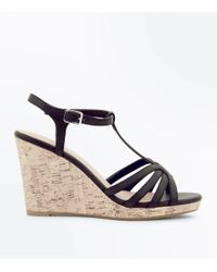 New Look Black Strappy T-bar Cork Wedges