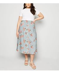 New Look Curves Blue Floral Spot Button Up Midi Skirt