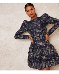 Chi Chi London Navy Floral Metallic Puff Sleeve Dress - Blue