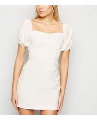 New Look Off White Puff Sleeve Denim Dress