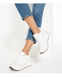 New Look White Leather-look Quilted Wedge Trainers