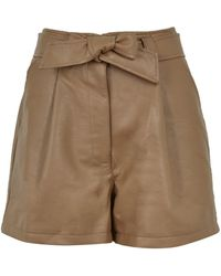 New Look Brown Leather-look Tie Waist Shorts
