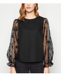 New Look Black Floral Organza Puff Sleeve Top