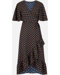 Mela Polka Dot Ruffle Midi Wrap Dress New Look - Blue