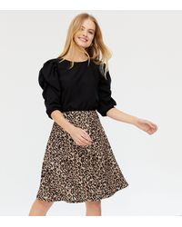 Missfiga Brown Leopard Print Puff Sleeve Skater Dress - Black