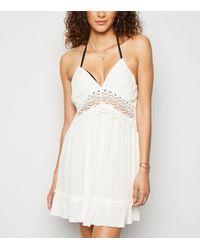 New Look Off White Crochet Halterneck Beach Dress
