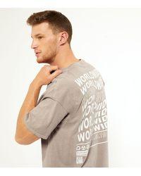 New Look Tan Worldwide Slogan Back T-shirt - Brown