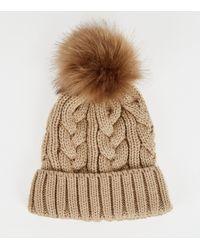 8cd98a6f5 Camel Cable Knit Faux Fur Bobble Hat - Natural
