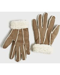 New Look Tan Faux Shearling Gloves - Brown