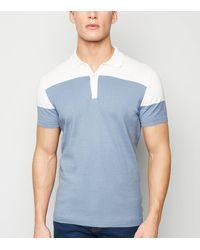 New Look Pale Blue Colour Block Polo Shirt