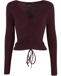 New Look Burgundy Ribbed Ruched Tie Front Top - Purple