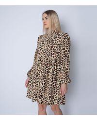 Cutie London Brown Leopard Print Shirt Dress