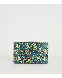 New Look Green Floral Print Satin Clutch Bag