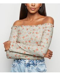 New Look Green Floral Ribbed Frill Trim Bardot Top