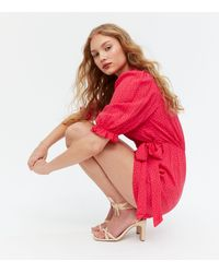 New Look - Red Spot Wrap Playsuit - Lyst