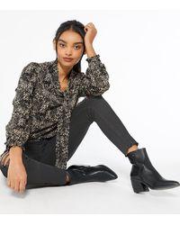 Mela Black Spot Tie Neck Blouse New Look