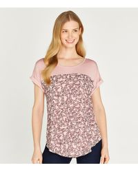 Apricot Pink Butterfly Print T-shirt