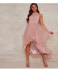 Chi Chi London Mid Pink Chiffon Dip Hem Midi Dress