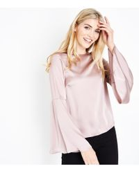 New Look - Pale Pink Satin Bell Sleeve Blouse - Lyst