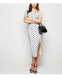 592a57fc0c New Look - White Spot Side Split Milkmaid Midi Dress - Lyst
