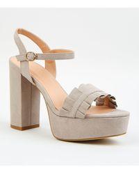 New Look Grey Suedette Frill Platform Heels